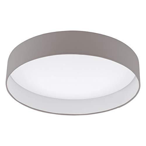 EGLO LED Deckenlampe Palomaro, Deckenleuchte Stoff, Wohnzimmerlampe aus Textil, Kunststoff, Farbe: taupe, weiß, Ø: 50 cm