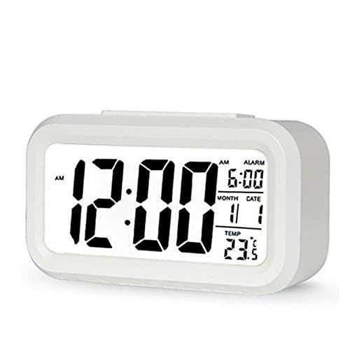 Despertador Digital LED,Retroiluminación Snooze Silencio Calendario de Escritorio Electrónico Relojes de Escritorio de Mesa de Luz Cuadrada