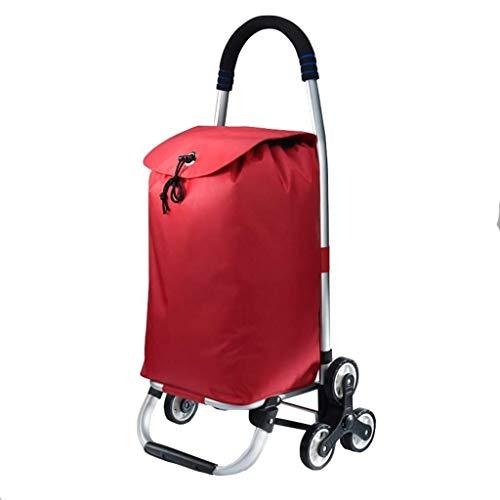 LQBDJPYS Zusammenklappbarer Einkaufstrolley mit 6 Rädern, 2,2 kg, leichte Aluminiumlegierung, wasserdichtes Oxford-Tuch, maximale Traglast 40 kg, 39 l