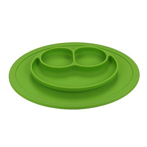 Coque en silicone Assiette Grade Silicone Ventouse antidérapante Portable divisé Section Smile pour nourrir bébé Plateau Assiette Bol Green