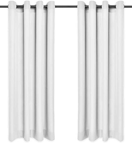 Rollmayer Sonnenblenden und Sichtschutz mit Ösen, blickdicht, dekorativ, Schlafzimmer, Kinderzimmer, Kollektion Vivid, 2 Stück, Polyester, #Vivid 01 weiß, 135x175 cm (LxH)