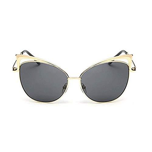 LAMZH Gafas de Sol de Moda de la Moda de Gafas de Sol Gafas de Sol de Gato Estilo de Gafas de Ojos Marco de Metal, (Color : Gray)