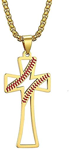 LBBYMX Co.,ltd Collar de Moda Collar Vintage Collar de Cruz Latina Hueca Collar de Hombre Collar de béisbol Collares Pendientes Oro Acero Inoxidable Joyería de Moda