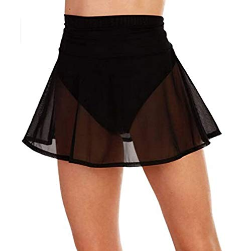 Damen Schiere durchsichtige Cover Ups Rock Badeanzug Chiffon Beach Bikini Minirock Wickel Skorts Kurze Sarongs (Schwarz, XL)