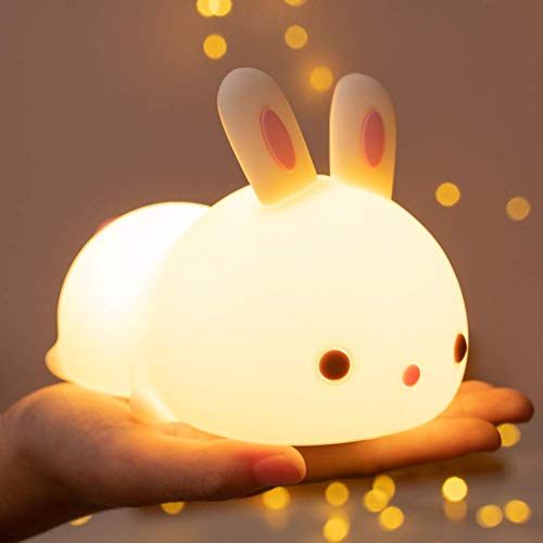 Cute Bunny Night Light Lamp 1-10 Age USB Rechargeable Battery Touch LED Color Changing Nightlight for Children Kid Baby Nursery Toddler Newborn Bedroom Bedside Kawaii Boy & Girl Room Decor Rabbit Gift