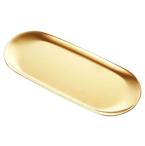 VIEAURA キャッシュトレイ コイントレイ ゴールド ステンレス 会計皿 小物置き おしぼり置き 鍵置き 釣り銭トレー 玄関トレー 楕円形 オシャレ インテリア