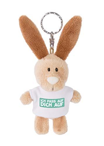 NICI 44719 Schlüsselanhänger Hase mit T-Shirt Ich pass auf Dich auf 10cm