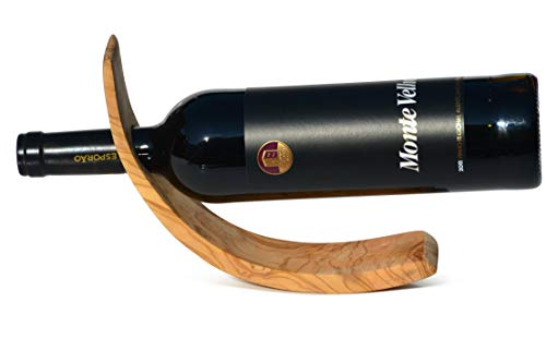 Figura Santa Portabottiglie Vino in Legno d'ulivo Finemente venato. 26,5 x 8 cm. qualità Originale