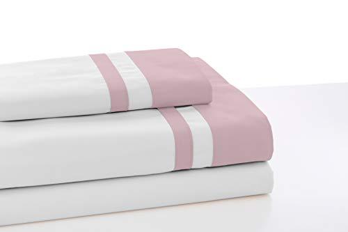 ESTELIA - Juego de sábanas Color Blanco con Detalle Rosa - Cama de 135/140 (3 Piezas) -100% algodón - 300 Hilos - Satén