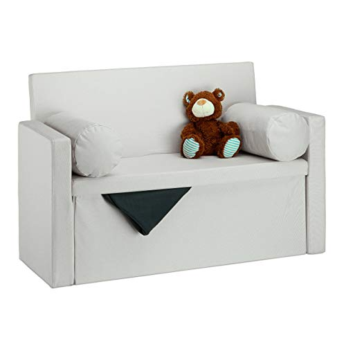 Relaxdays Baúl Almacenamiento Plegable con Respaldo, Lino, Crema, 75 x 115 x 47 cm