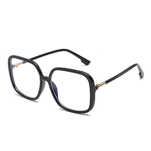 WOJING Gafas cuadradas de gran tamaño para las mujeres Vintage Retro negro claro grandes gafas hombres transparente