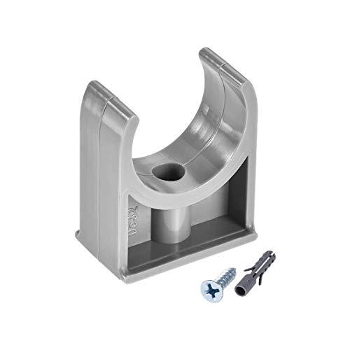 Abrazaderas de manguera de PVC de 32 mm, aptas para tableros de televisión de 32 mm / 1,26 'OD soporte de suspensión de tubo Pex, tornillos de montaje gris W 30 piezas