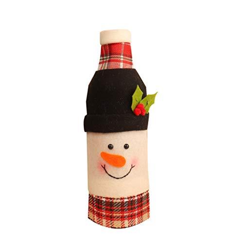 HEG Weihnachtsdekoration Weinflasche Set Weihnachtsmann Wein-Champagne-Set CartoonSnowman Flasche Set Christbaumschmuck (Color : B)