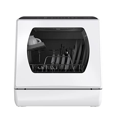 Lavavajillas de la encimera, 5 Programas de Lavado Lavavajillas Portátil Con 5 Litros Depósito de Agua Integrado Para Puerta de Vidrio