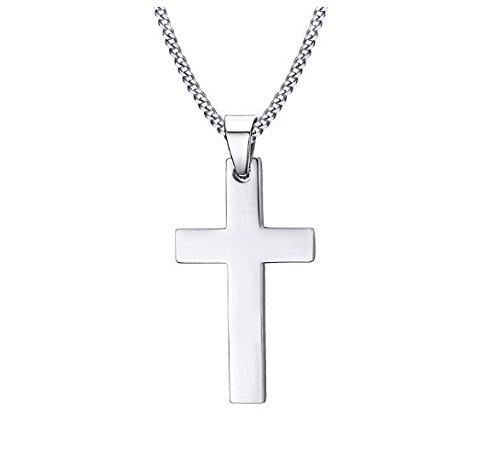 Zenguen uomini in acciaio INOX collana ciondolo a forma di croce di collana (argento)