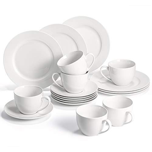 SUNTING Juego de café de porcelana, serie clásica, moderna y redonda, color blanco, juego de 6 platos de postre, 6 tazas de café, 6 platillos, vajilla de café duradera para 6 personas