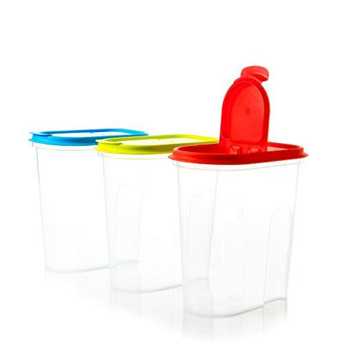 Vorratsdosen Schüttdosen Set mit Klappdeckeln, 3-teilig, 2 Liter,100% recyclebar, ideale Größe z.B. als Müslispender, für Cornflakes oder Vorratsbehälter, mit 3 Aufklebern zum Beschriften. Made in EU.