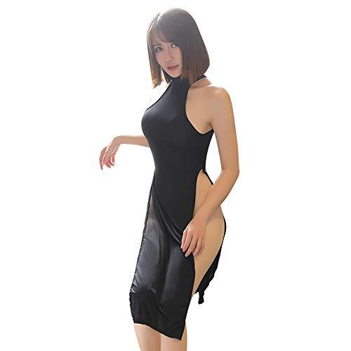 SINMIUANIME Lencería para mujer Cheongsam Lencería sexy Vestidos Cosplay Lencería Cheongsam Trajes - negro - Talla Única