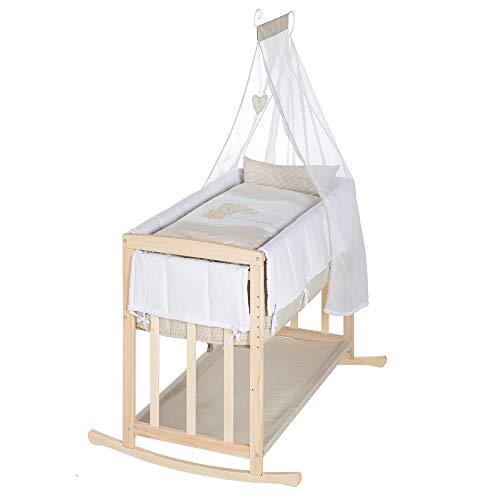 """roba-kids 289154NAS105 - Cuna 4 en 1, cama lateral""""Liebhabär"""", cuna y banco para niños de madera de haya."""