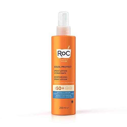 RoC - Soleil-Protect Feuchtigkeitsspendende Spraylotion SPF 50 - Nicht fettender Sonnenschutz - Hoher Schutz - Wasserbeständig - 200 ml
