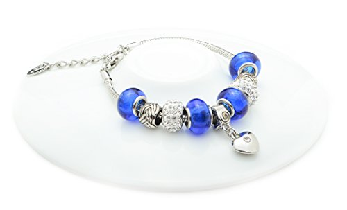NYC Sterling Charmed Link Murano Heart Charm Bracelet (Royal Blue)