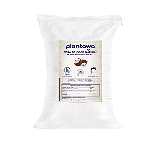 PLANTAWA Fibra de Coco 50L, Sustrato de Coco, Fibra de Coco Natural para Plantas, Uso Huerto Urbano