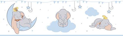 Rasch Textil selbstklebende Papierborte Bordüre - Kollektion Disney Fantasy Deco U35201 Dumbo Elefant weiß blau