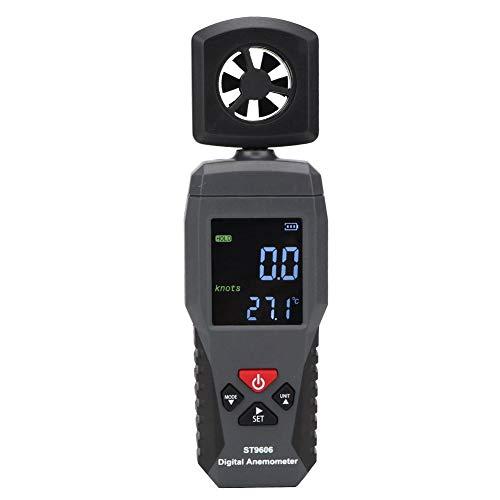 Medidor de velocidad del viento, medidor de viento Anemómetro de mano portátil ST9606 Medidor de velocidad del viento, función de alarma de alta y baja velocidad del viento