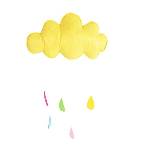 BESTOYARD plafond mobiele opknoping wolk decoraties hart slinger voor kinderen kamer baby douche (geel)
