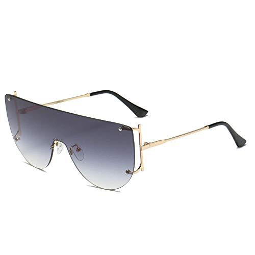 hqpaper Gafas de sol de moda personalizadas con anclaje femenino, gafas de sol delgadas, foto, color, marco dorado, película negra