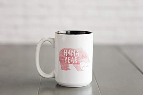 Personalized Coffee Mugs with Name for Women (15oz Mug, Mama Bear Design) - Custom Ceramic Coffee Cups, Unique Birthday Gifts for Moms, Sisters, Teachers, Moms
