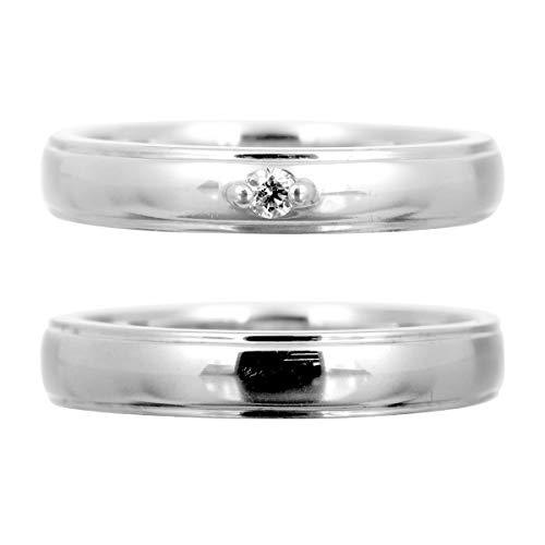 [ココカル]cococaru ペアリング シルバー リング2本セット ダイヤモンド マリッジリング 結婚指輪 日本製(レディースサイズ8号 メンズサイズ8号)