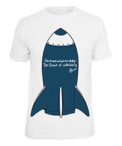 Alligatoah T-Shirt Mittelheilig, Farbe:Weiss, Größe:S