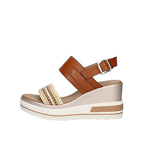 Sandalo Donna NeroGiardini E115760D in Pelle Cognac Una Calzatura Adatta per Tutte Le Occasioni. Primavera-Estate 2021. EU 40