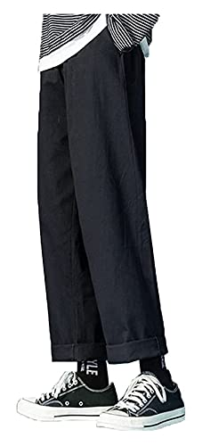 DOUYUAN Pantalón Cargo de Punk Pant Hombres Hip Hop Jogger Harem StreetwearTousers Hombres Casual Harajuku Swears Pantalones de Verano (Color : Black, Size : L)