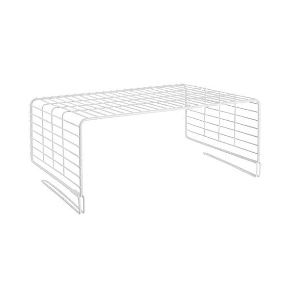 Cocina mDesign Juego de 2 cestas met/álicas para armarios Moderno Separador de estantes de Metal para Ropa con 2 Niveles Blanco Pasillo y Oficina Organizador de armarios para Dormitorio