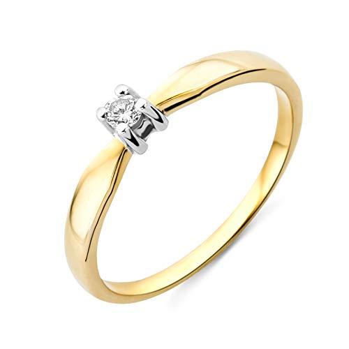 Miore anillo solitario de compromiso para mujer, oro bicolor (amarillo y blanco) de 14 quilates oro 585 diamante brillante de 0,06 quilates