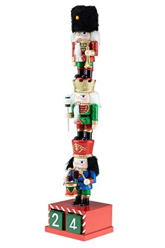 Clever Creations - Cascanueces Tradicional de Navidad Coleccionable - Combina con Cualquier Estilo - Madera - 3 minicascanueces rechonchos superpuestos con Calendario de Adviento - 35,6 cm