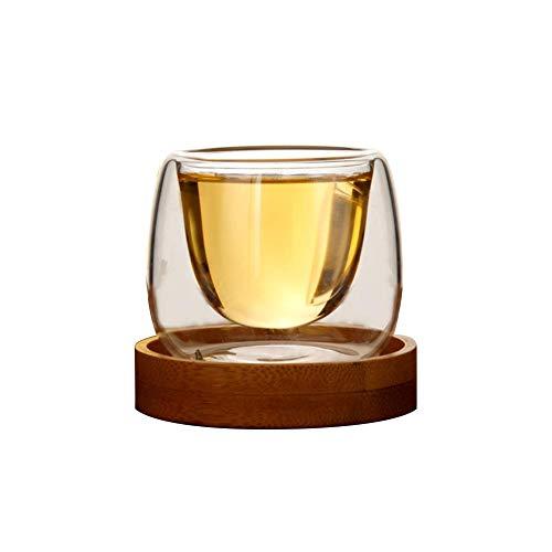 QUUY 80 ml dubbelwandige glazen cup theekop van hoge borosilicaatglas met dienblad, bierkopje voor koffie, melk, thee, whiskey - hittebestendig en warmte-isolerend, bescherming tegen verbranding