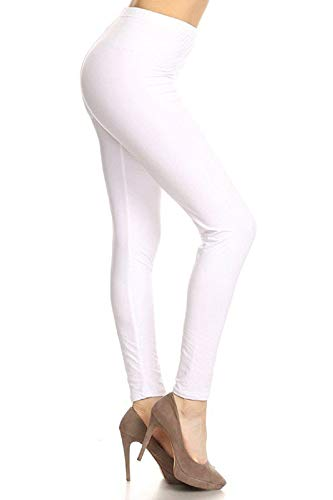 LDX128-White Basic Solid Leggings, …