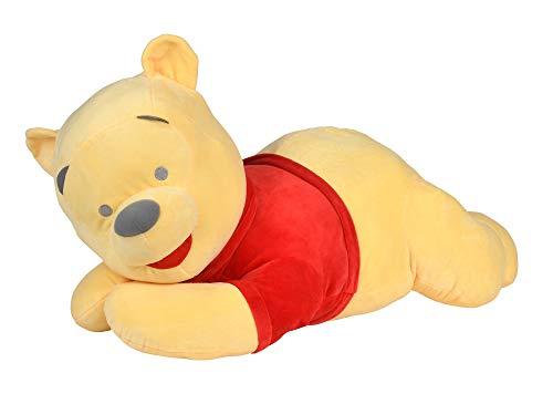 Simba 6315876876 - Disney Winnie the Puuh Kuschelalarm, 80cm, riesengroßer liegender Pooh Bär mit Knisterpapier in Ohren und Füßen, Rasselkugel im Bauch, ab den ersten Lebensmonaten geeignet