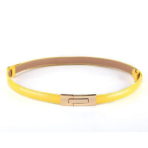 Unisex riemen patent lederen riem vrouwen dunne riem decoratieve rok riem leer fijne riem mode grootte optioneel 65-95cm geel