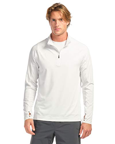 Rhone Courtside Mens Black 1/4 Zip with Moisture Wicking Tricot Mesh Stretch Fabric (White, Large)