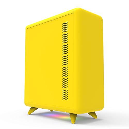 GOLDEN FIELD Q3056 Mini Computer Case, MATX/ITX Smart PC Case, Bottom ARGB Lighting Strip, USB 3.0 Port, Support 6 Fans Position, Cute Novel Appearance (Yellow)