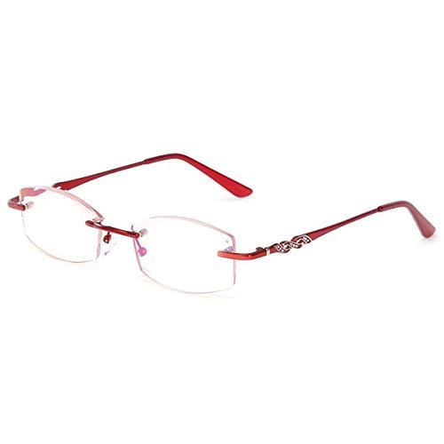 LGQ Gafas de Lectura sin Montura ultraligeras, Montura de aleación, Lente HD Anti-luz Azul, Anti-radiación, Gafas antifatiga para Ancianos Dioptrías +1,00 a +3,00,Rojo,+1.00