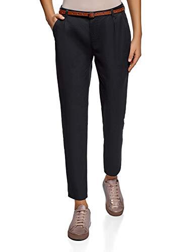 oodji Ultra Mujer Pantalones Chinos Básicos, Negro, ES 42 / L