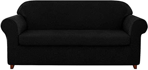 erddcbb Funda de sofá de Jacquard granulado de 2 Piezas, Funda de sillón de Spandex de Alta Elasticidad, Protector de Muebles de Moda, Abrigo de cojín elástico Reutilizable (Negro, 3 plazas/sofá)