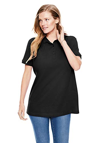Woman Within Women's Plus Size Perfect Short-Sleeve Polo Shirt - 2X, Black