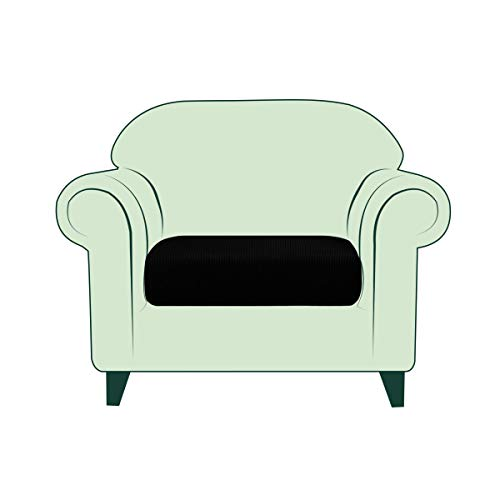 CHUN YI Elasticizzato Jacquard Copricuscino per Divano, Fodera coprisedile da 1, 2 o 3 posti, Protezione per mobili, Tessuto Jacquard Spandex a Quadri (Sedia, Nero)