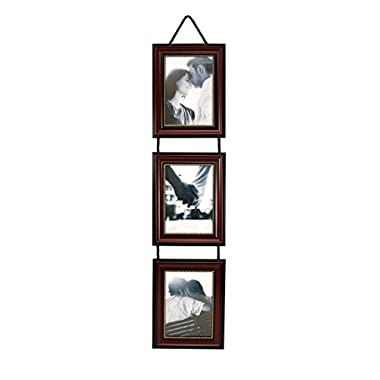 Kiera Grace Vertical Lucy Collage Picture Frames on Hanging Ribbon (Set of 3), 5 by 7 Inch, Dark Brown with Gold Beading